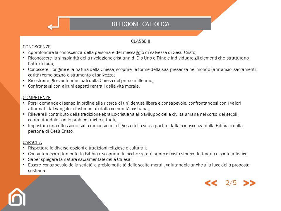 << >> 2/5 RELIGIONE CATTOLICA CLASSE II CONOSCENZE