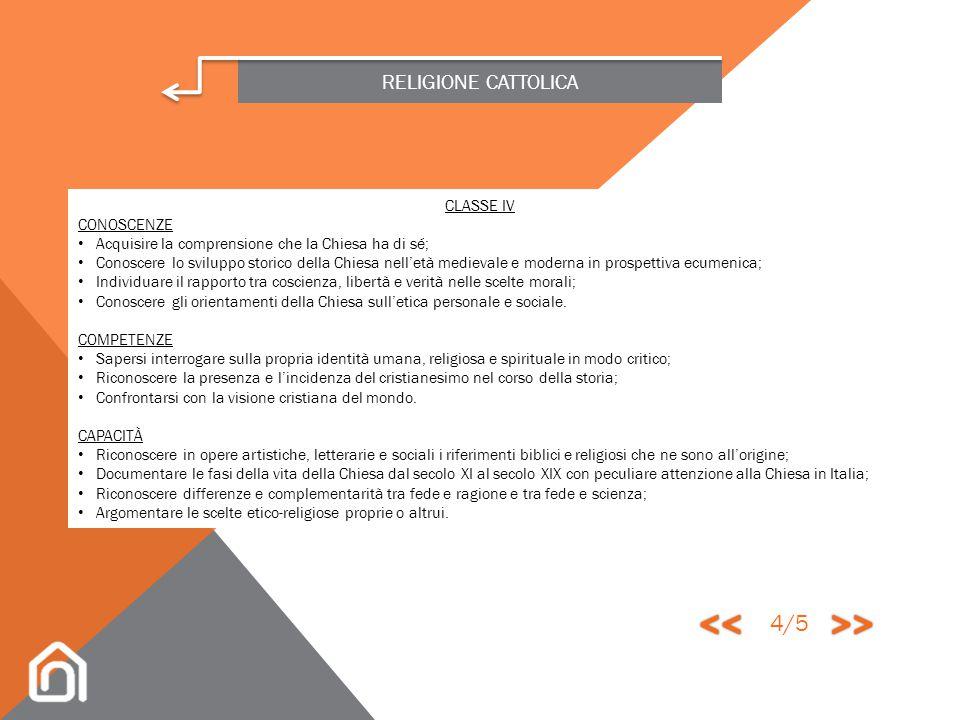 << >> 4/5 RELIGIONE CATTOLICA CLASSE IV CONOSCENZE