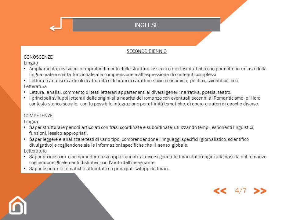 << >> 4/7 INGLESE SECONDO BIENNIO CONOSCENZE Lingua