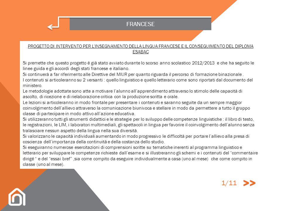 FRANCESE PROGETTO DI INTERVENTO PER L'INSEGNAMENTO DELLA LINGUA FRANCESE E IL CONSEGUIMENTO DEL DIPLOMA ESABAC.