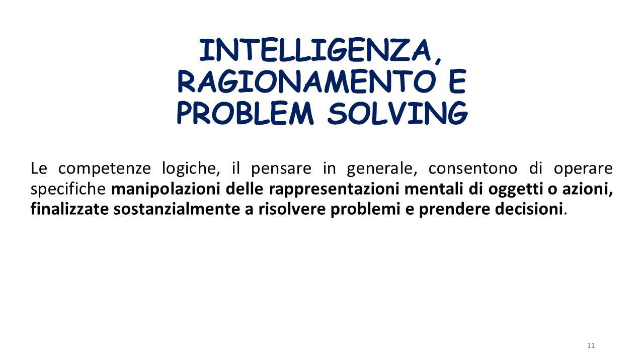 INTELLIGENZA, RAGIONAMENTO E PROBLEM SOLVING