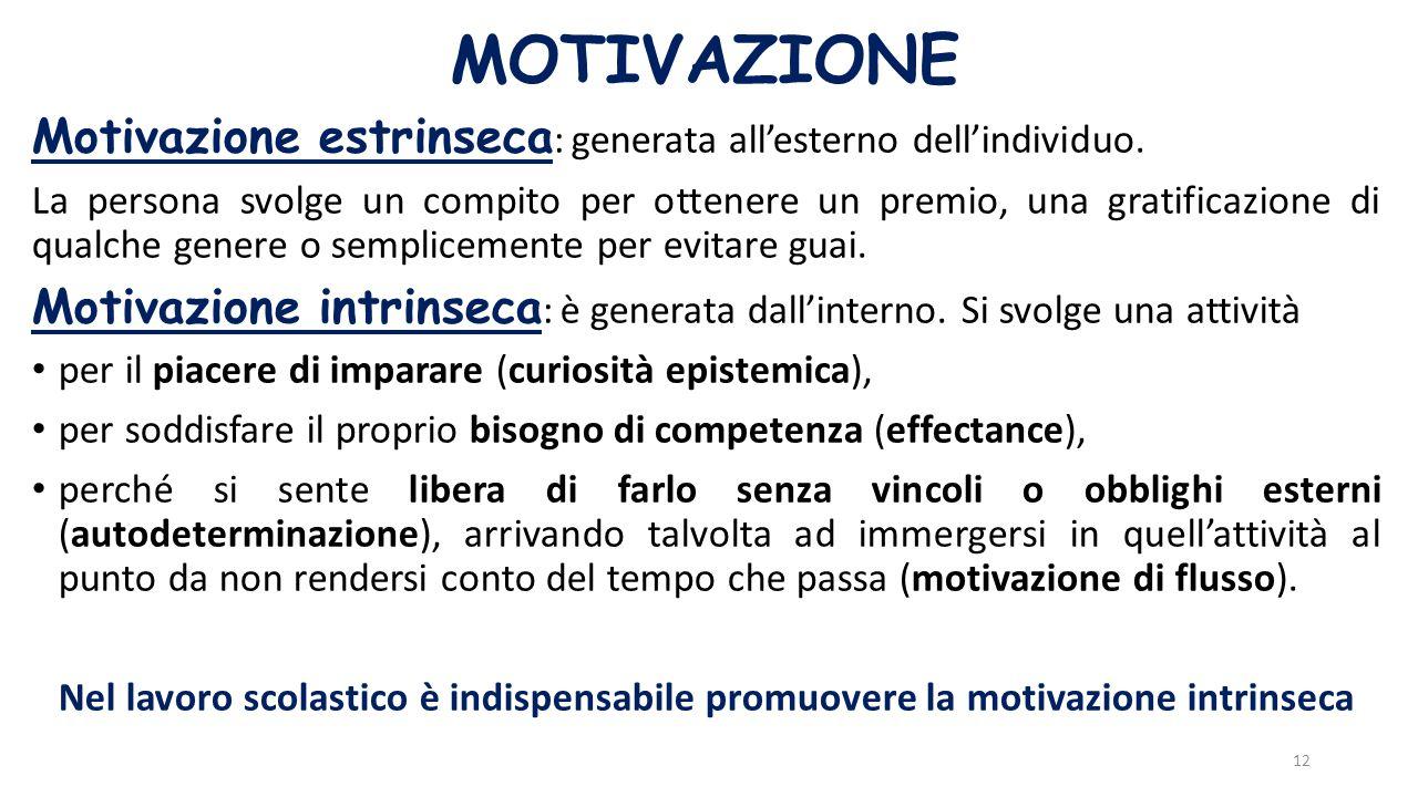 MOTIVAZIONE Motivazione estrinseca: generata all'esterno dell'individuo.