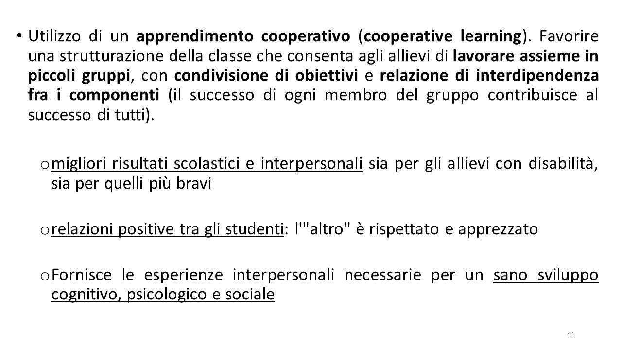 Utilizzo di un apprendimento cooperativo (cooperative learning)