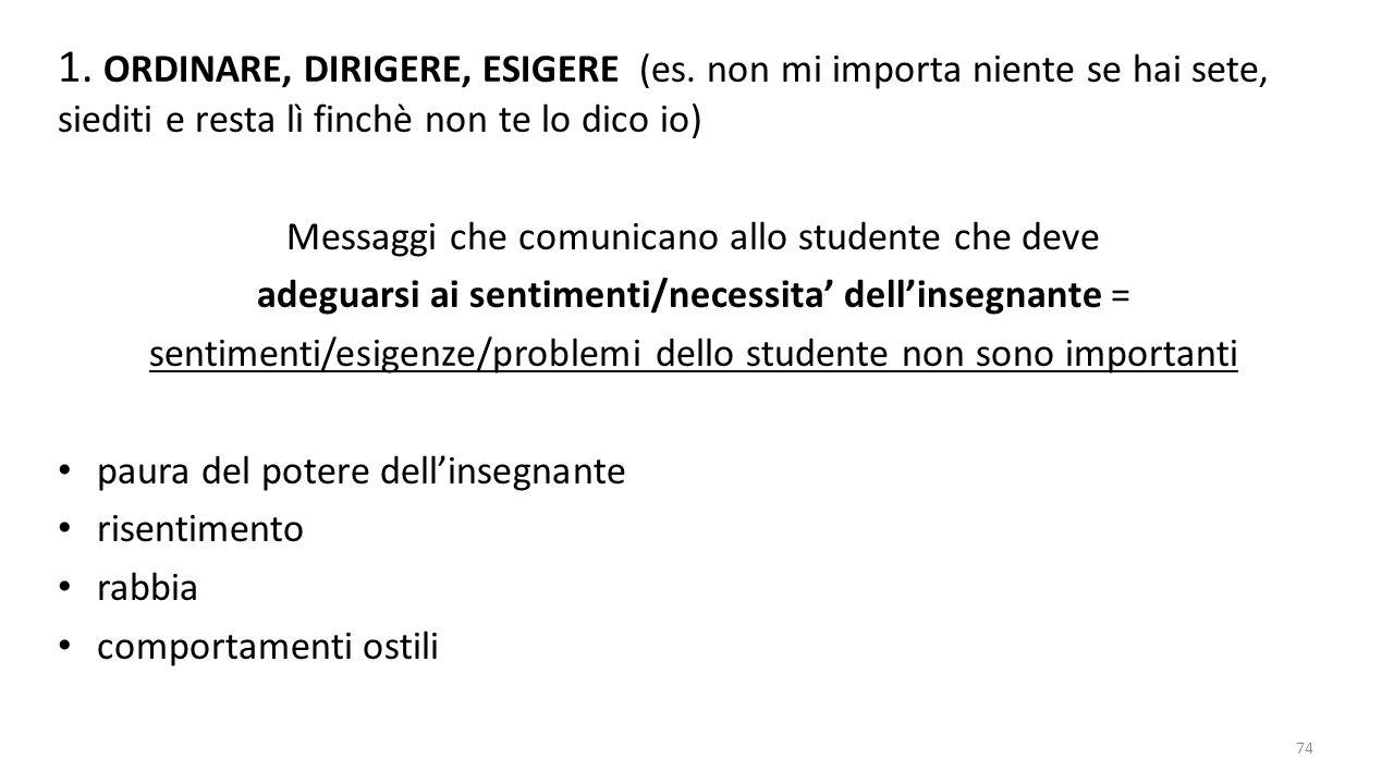1. ORDINARE, DIRIGERE, ESIGERE (es