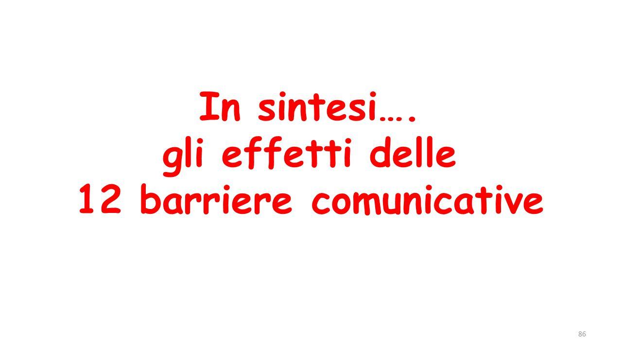 In sintesi…. gli effetti delle 12 barriere comunicative