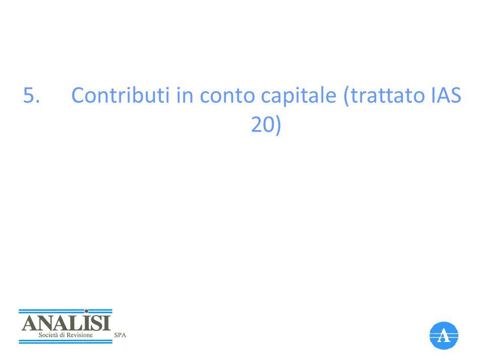 Contributi in conto capitale (trattato IAS 20)