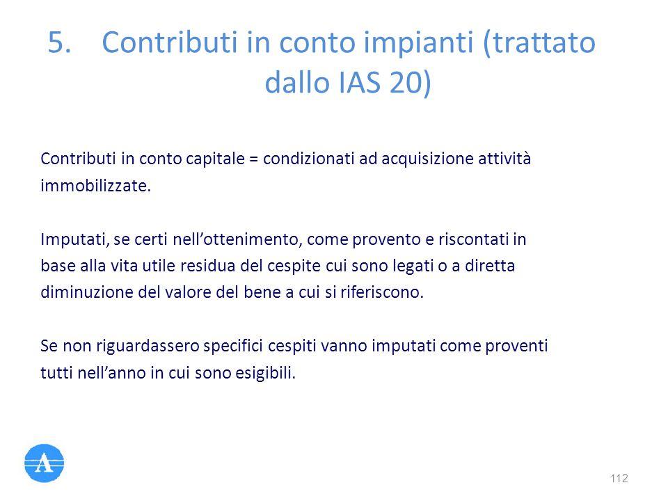 Contributi in conto impianti (trattato dallo IAS 20)