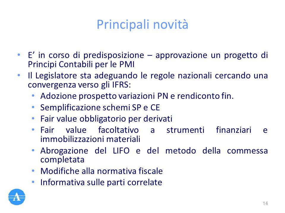 Principali novità E' in corso di predisposizione – approvazione un progetto di Principi Contabili per le PMI.
