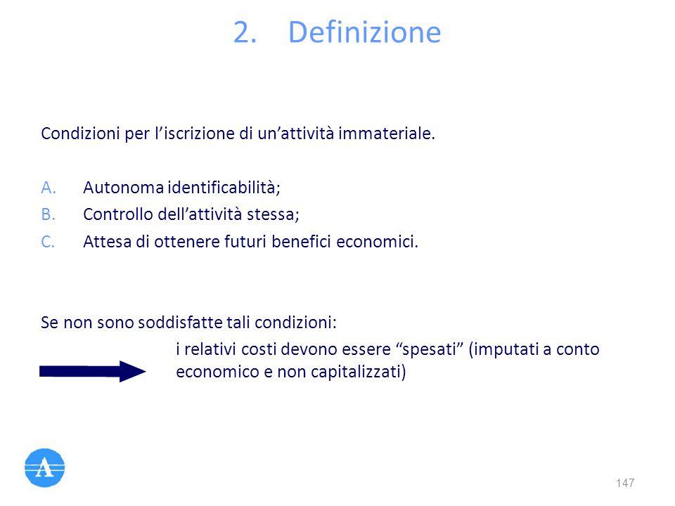 Definizione Condizioni per l'iscrizione di un'attività immateriale.