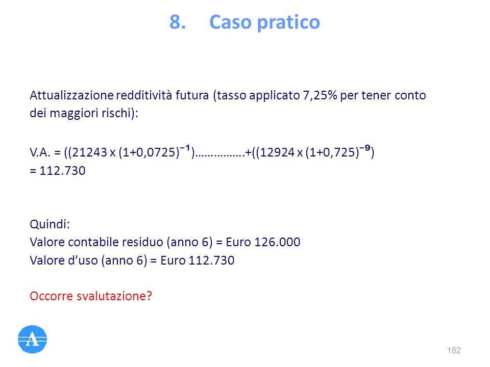 Caso pratico Attualizzazione redditività futura (tasso applicato 7,25% per tener conto. dei maggiori rischi):