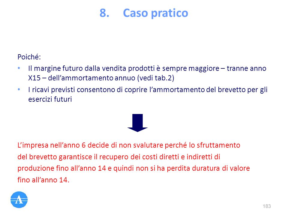 Caso pratico Poiché: Il margine futuro dalla vendita prodotti è sempre maggiore – tranne anno X15 – dell'ammortamento annuo (vedi tab.2)