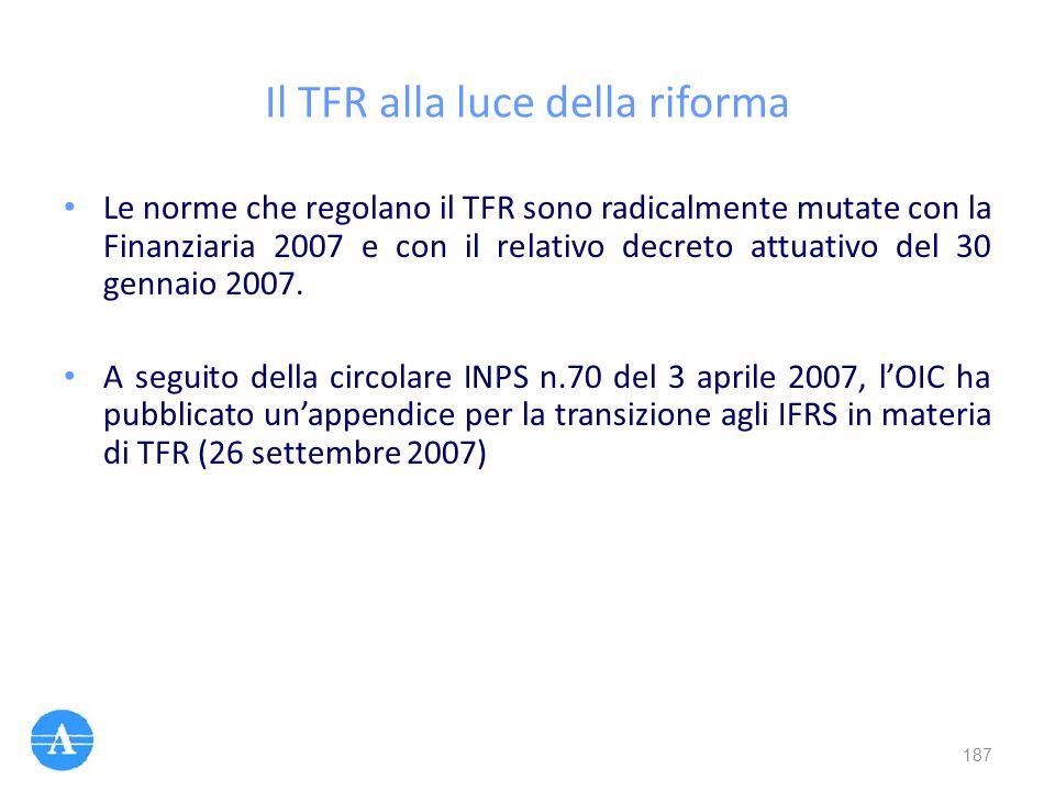 Il TFR alla luce della riforma