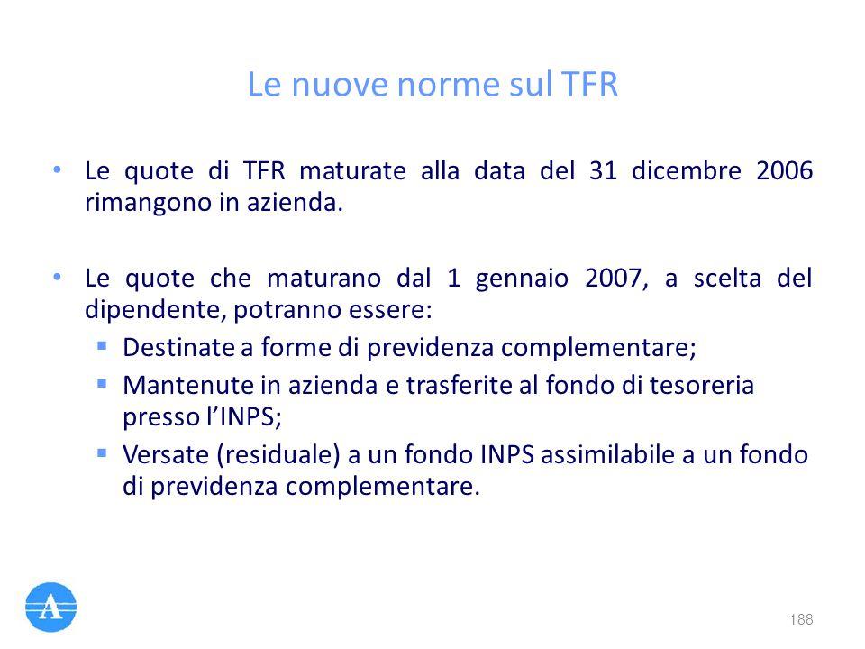 Le nuove norme sul TFR Le quote di TFR maturate alla data del 31 dicembre 2006 rimangono in azienda.