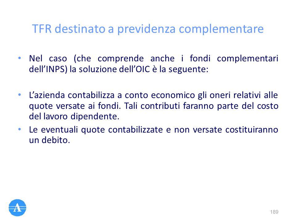 TFR destinato a previdenza complementare