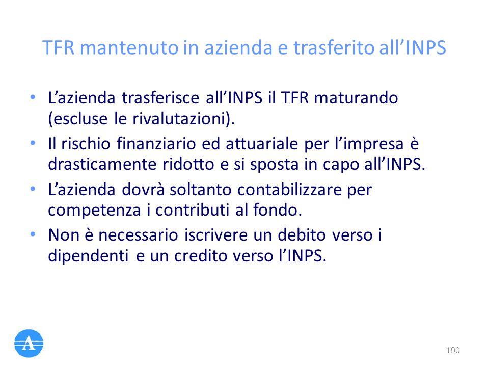 TFR mantenuto in azienda e trasferito all'INPS