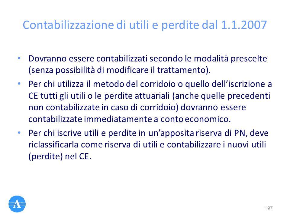 Contabilizzazione di utili e perdite dal 1.1.2007