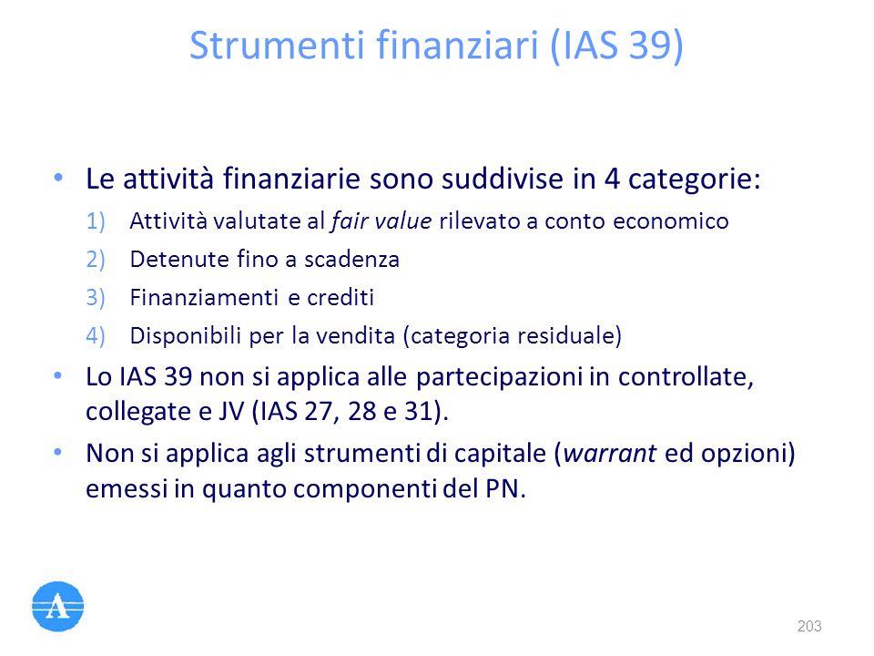 Strumenti finanziari (IAS 39)