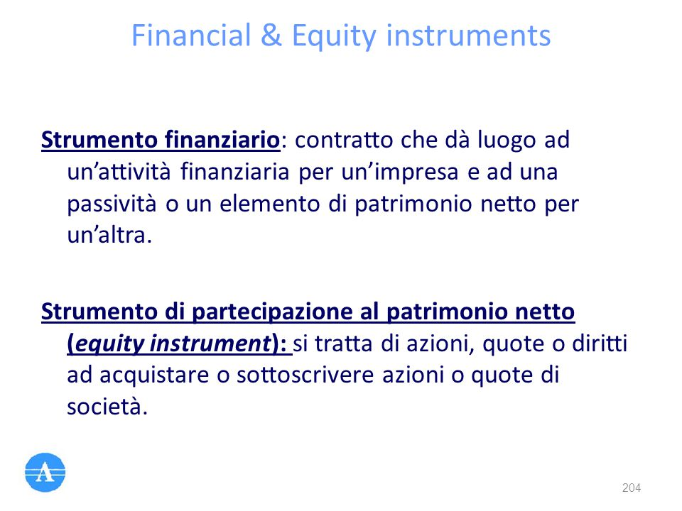 Financial & Equity instruments