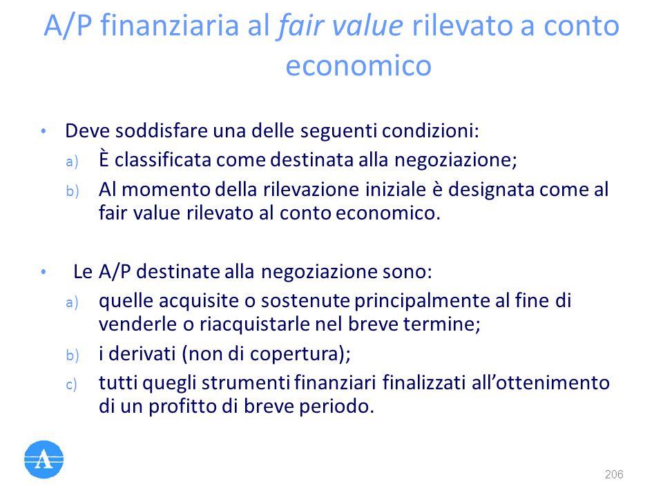 A/P finanziaria al fair value rilevato a conto economico