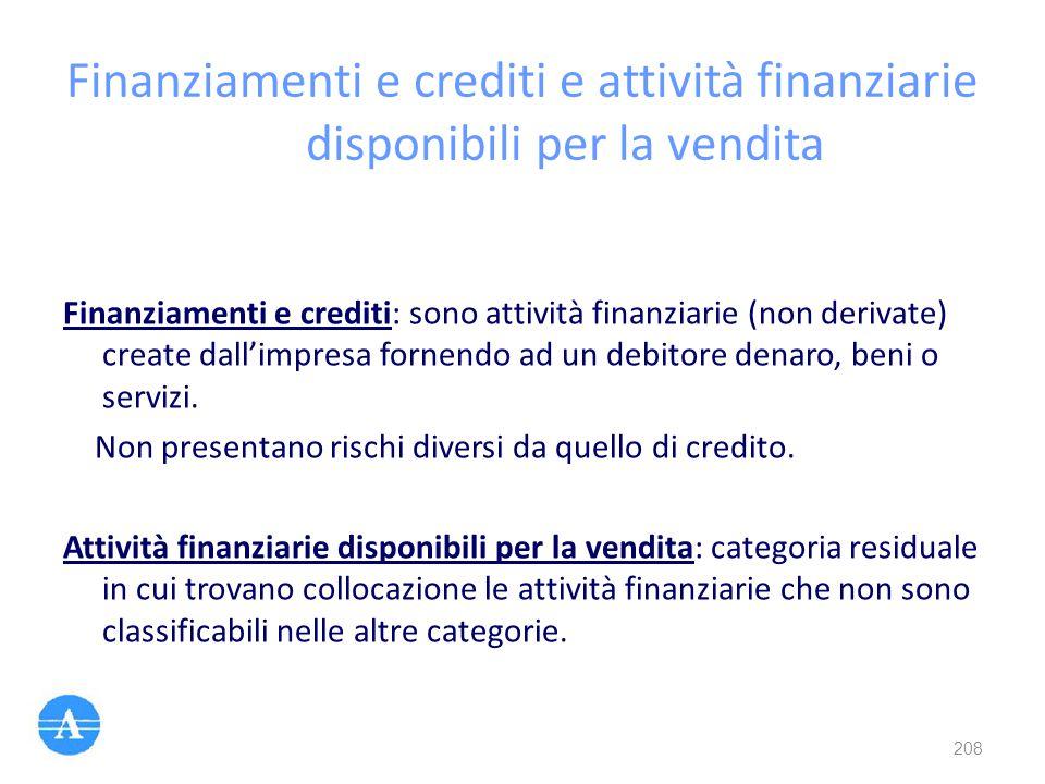 Finanziamenti e crediti e attività finanziarie disponibili per la vendita