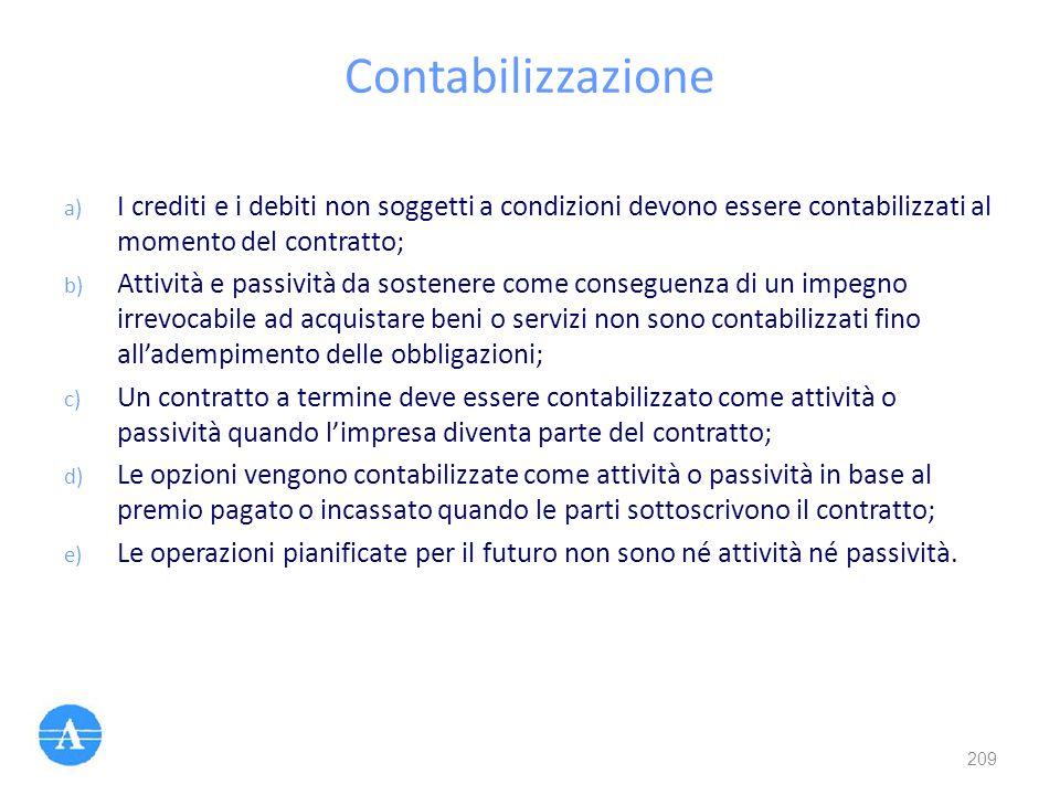 Contabilizzazione I crediti e i debiti non soggetti a condizioni devono essere contabilizzati al momento del contratto;