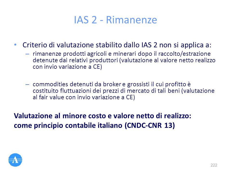 IAS 2 - Rimanenze Criterio di valutazione stabilito dallo IAS 2 non si applica a: