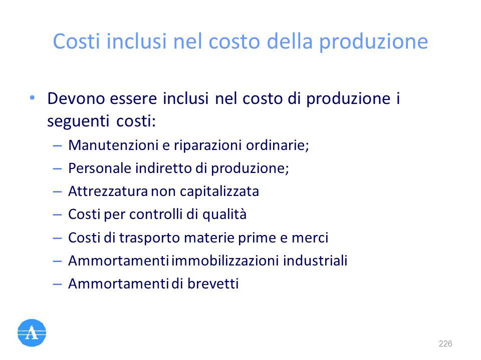 Costi inclusi nel costo della produzione
