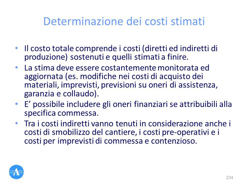 Determinazione dei costi stimati