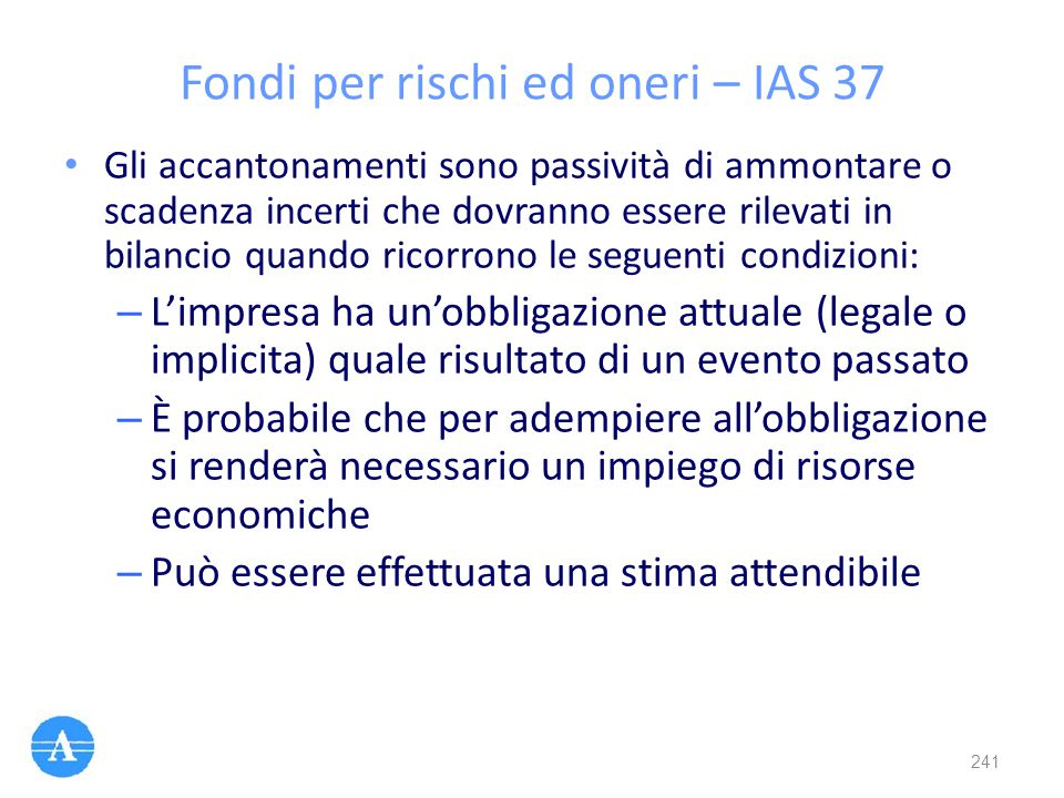 Fondi per rischi ed oneri – IAS 37