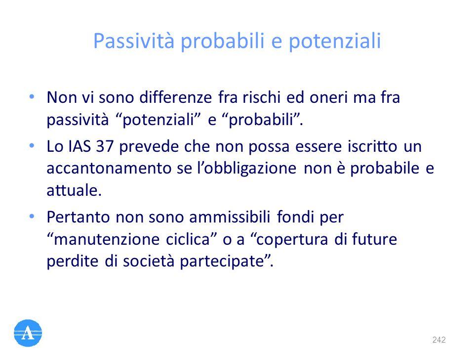 Passività probabili e potenziali