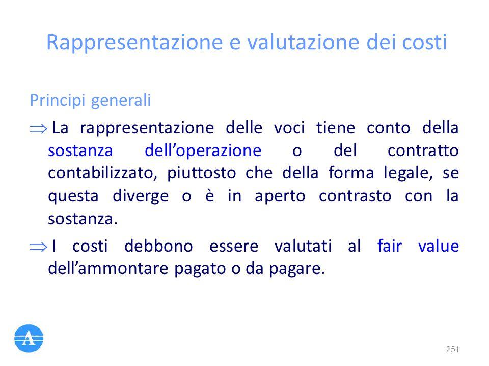 Rappresentazione e valutazione dei costi
