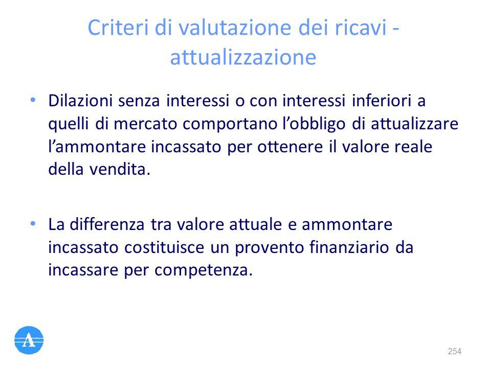 Criteri di valutazione dei ricavi - attualizzazione