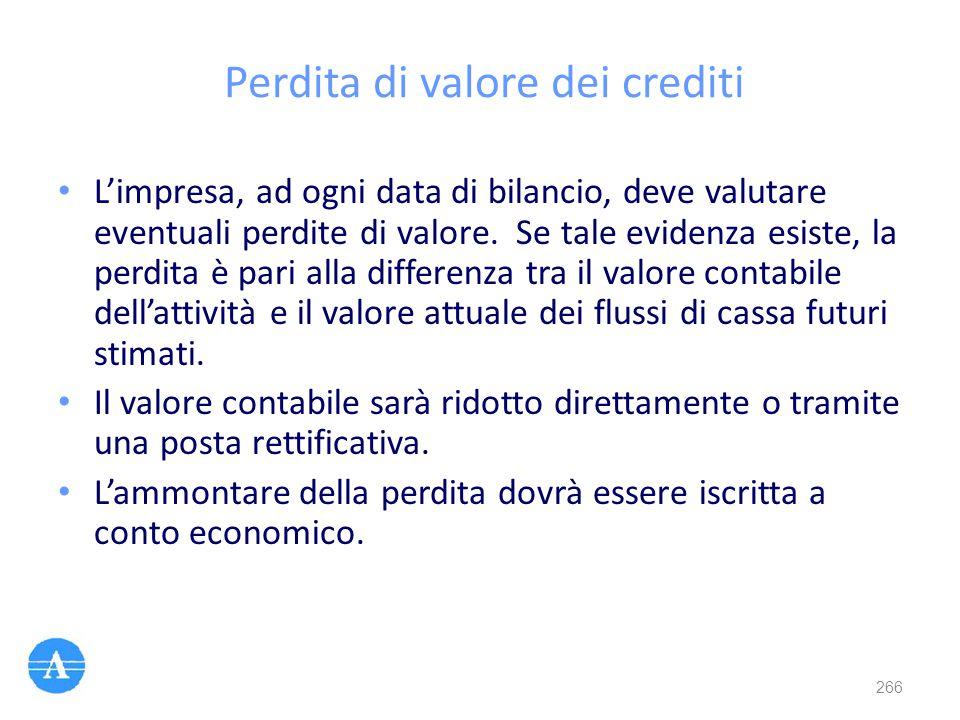Perdita di valore dei crediti