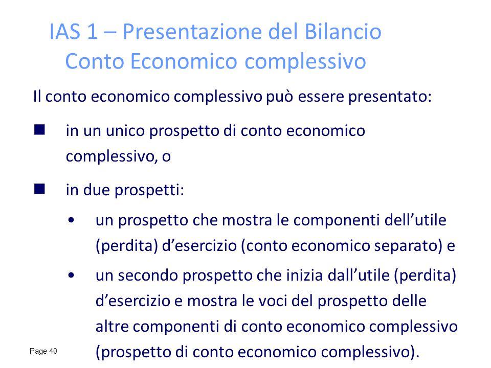 IAS 1 – Presentazione del Bilancio Conto Economico complessivo