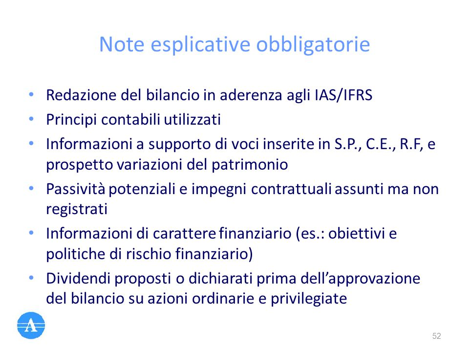 Note esplicative obbligatorie