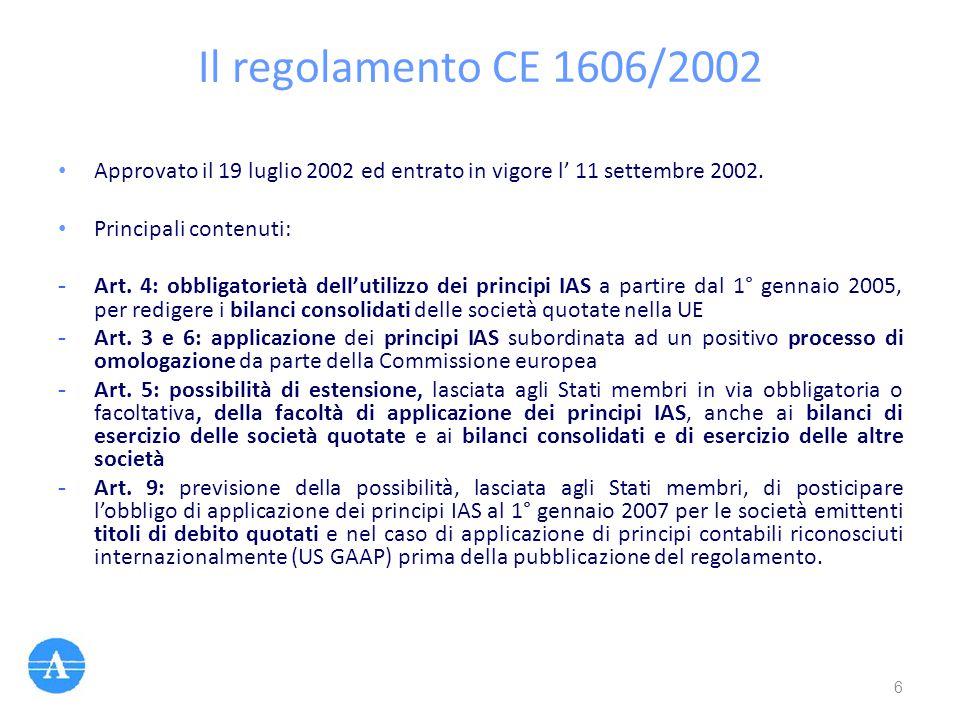 Il regolamento CE 1606/2002 Approvato il 19 luglio 2002 ed entrato in vigore l' 11 settembre 2002. Principali contenuti: