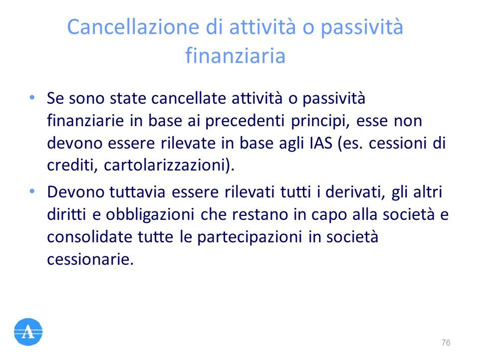Cancellazione di attività o passività finanziaria