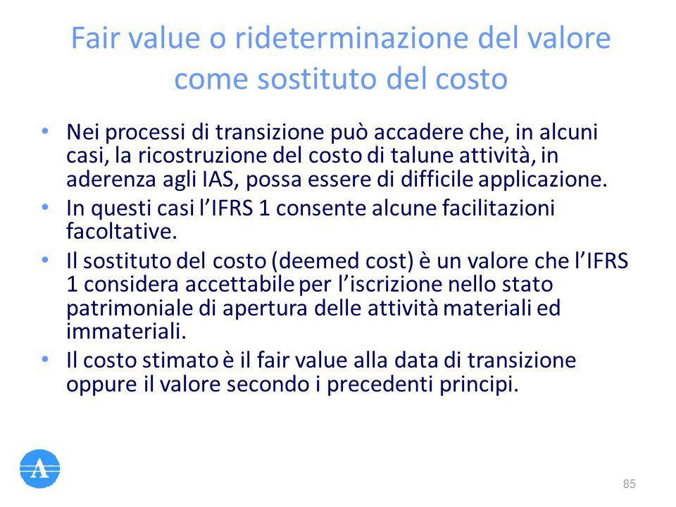 Fair value o rideterminazione del valore come sostituto del costo