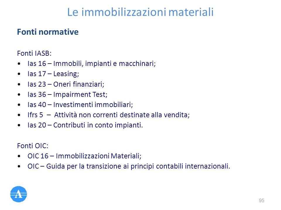 Le immobilizzazioni materiali