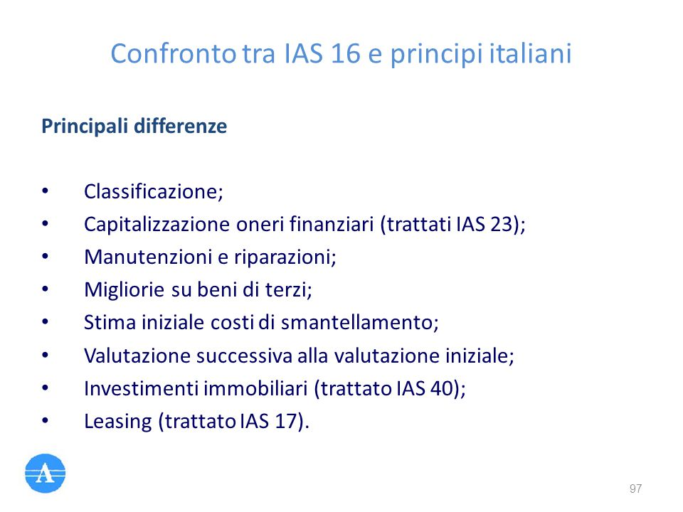 Confronto tra IAS 16 e principi italiani