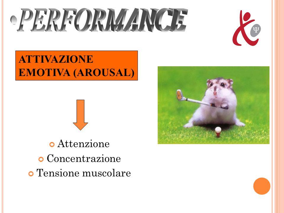 PERFORMANCE ATTIVAZIONE EMOTIVA (AROUSAL) Attenzione Concentrazione