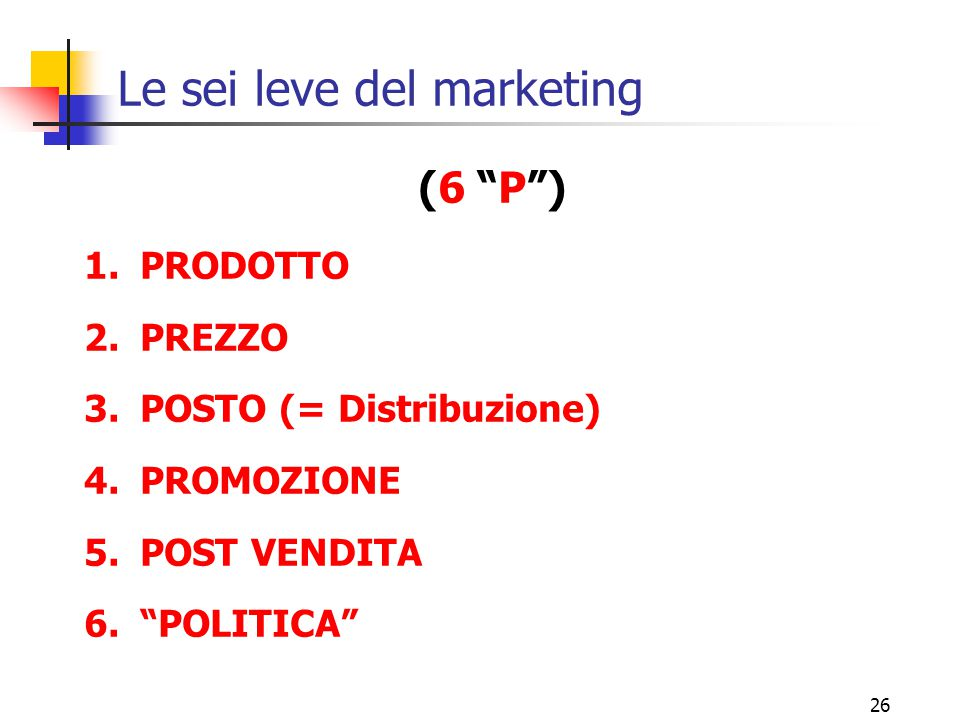 Le sei leve del marketing
