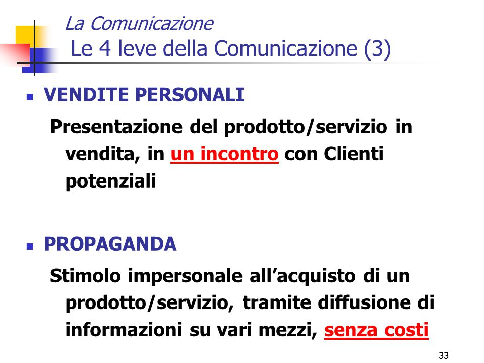 La Comunicazione Le 4 leve della Comunicazione (3)