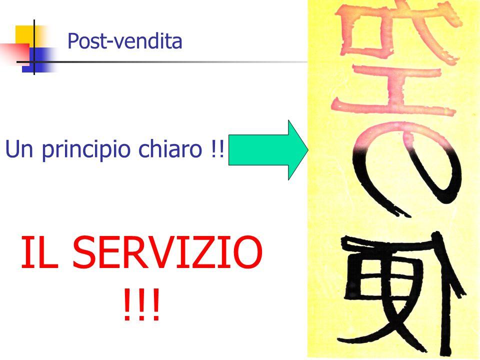 Post-vendita Un principio chiaro !! IL SERVIZIO !!!