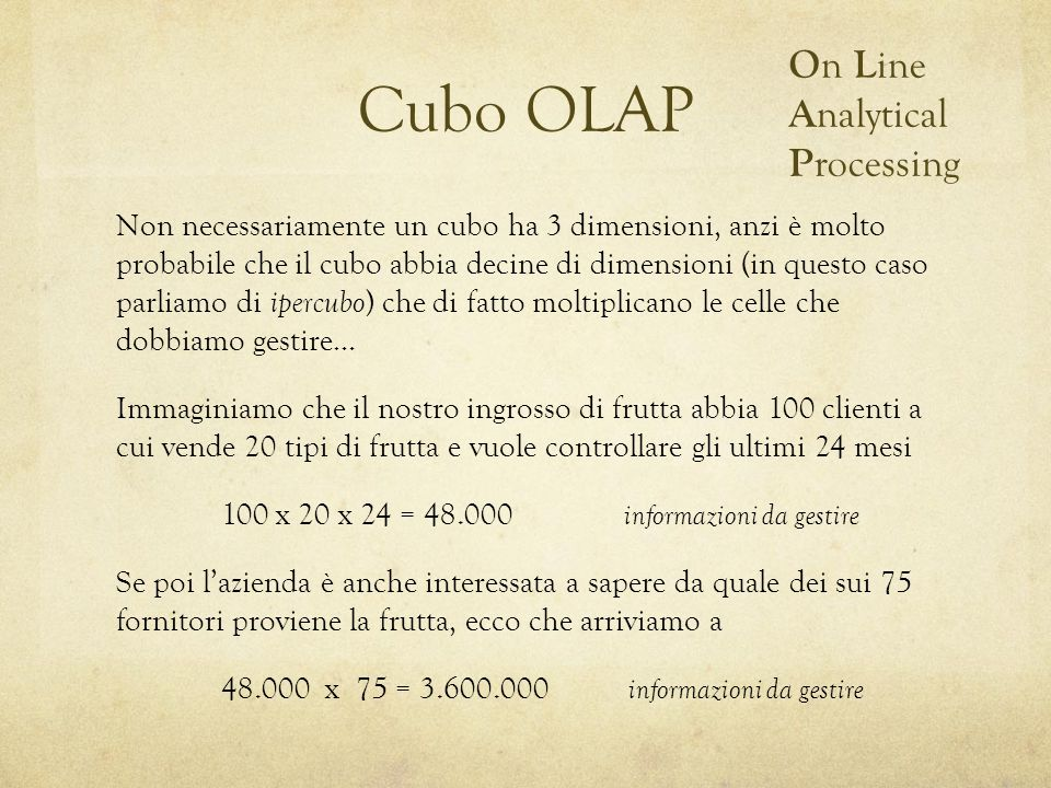 Cubo OLAP On Line Analytical Processing