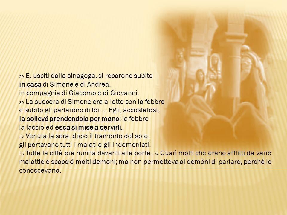 in casa di Simone e di Andrea, in compagnia di Giacomo e di Giovanni.
