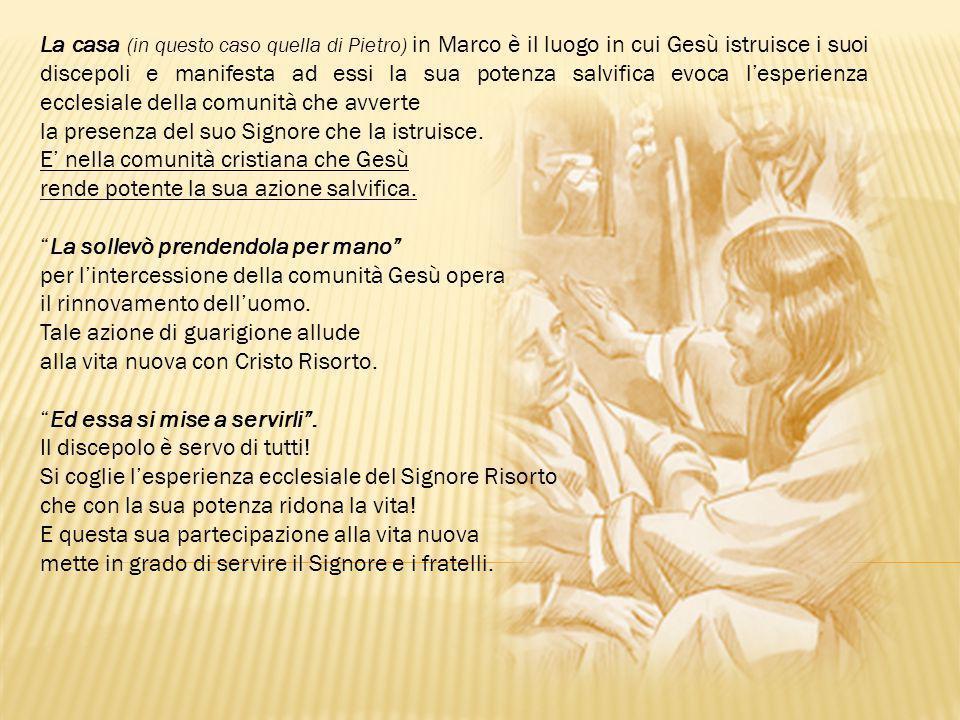 La casa (in questo caso quella di Pietro) in Marco è il luogo in cui Gesù istruisce i suoi discepoli e manifesta ad essi la sua potenza salvifica evoca l'esperienza ecclesiale della comunità che avverte