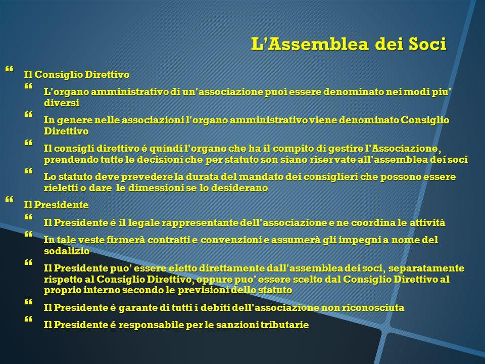 L Assemblea dei Soci Il Consiglio Direttivo