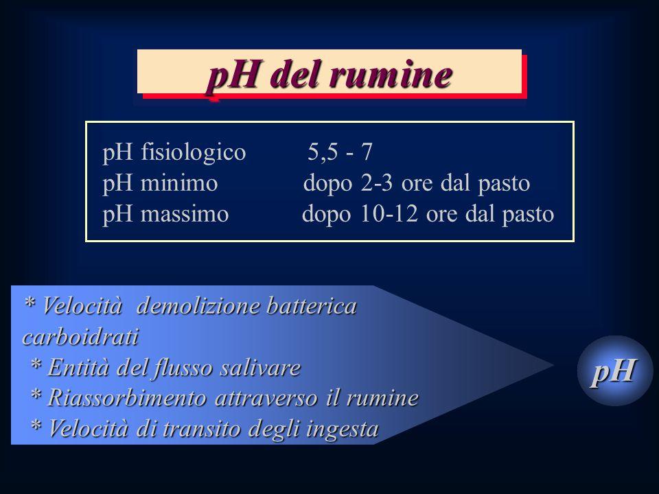 pH del rumine pH pH fisiologico 5,5 - 7