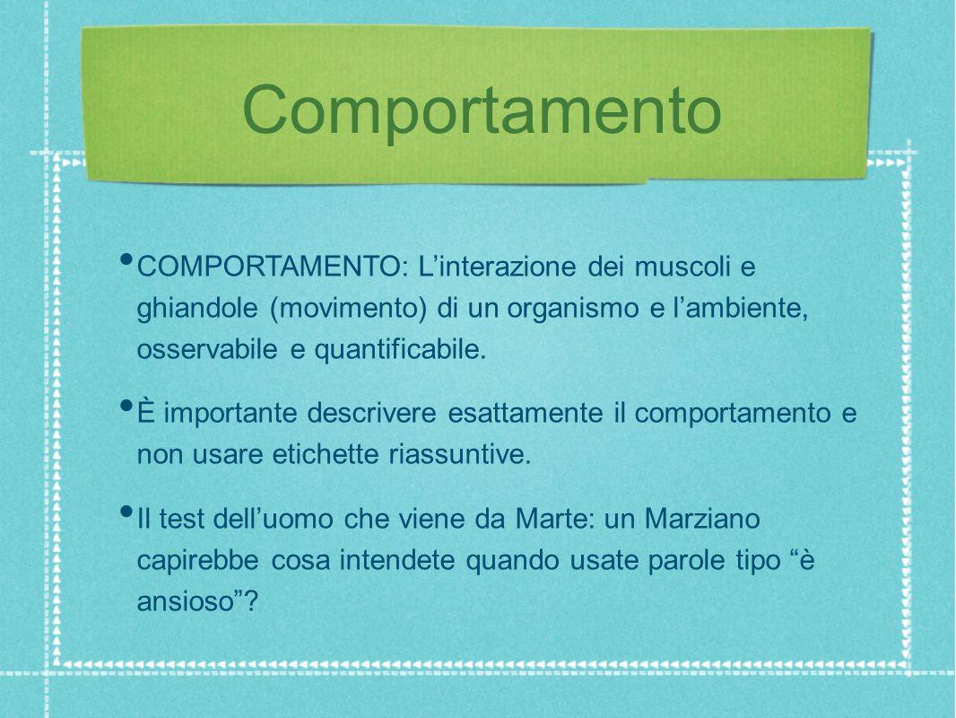 Comportamento COMPORTAMENTO: L'interazione dei muscoli e ghiandole (movimento) di un organismo e l'ambiente, osservabile e quantificabile.